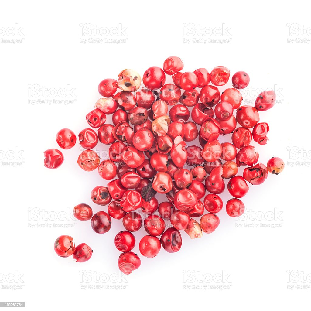 Pink pepper isolated on a white background stock photo