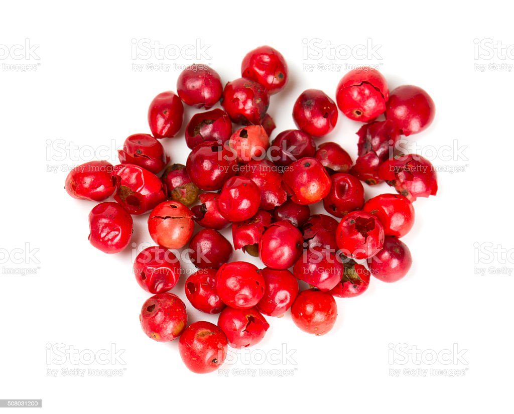 pink peppercorn isolated on white stock photo