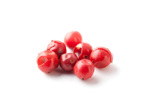 Pink Peppercorn on White stock photo