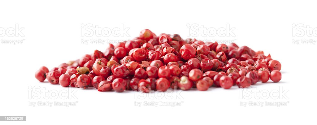 Pink Peppercorn on White royalty-free stock photo