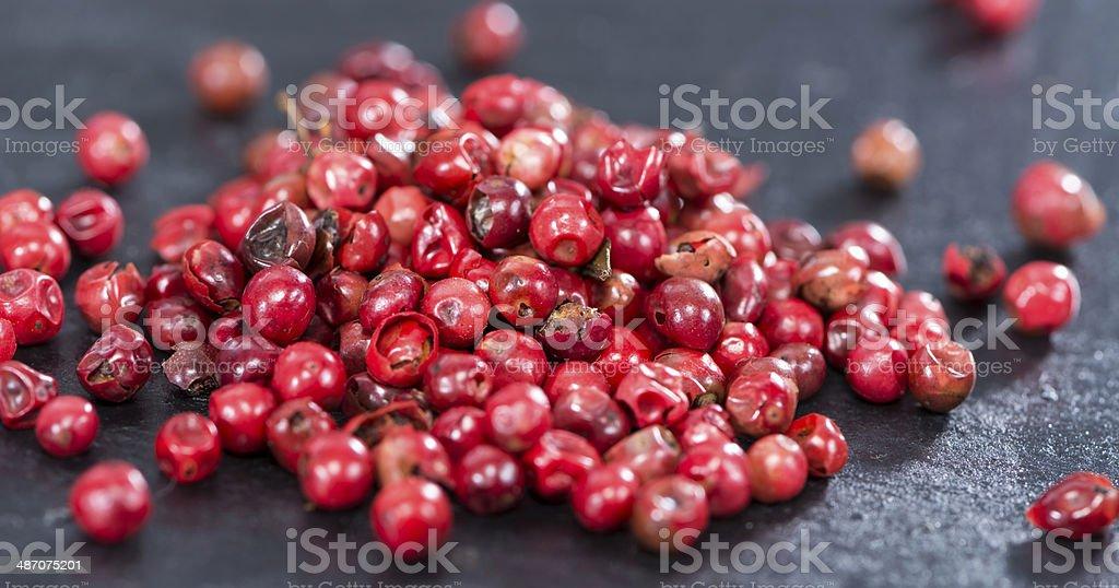 Pink Peppercorns (close-up shot) stock photo