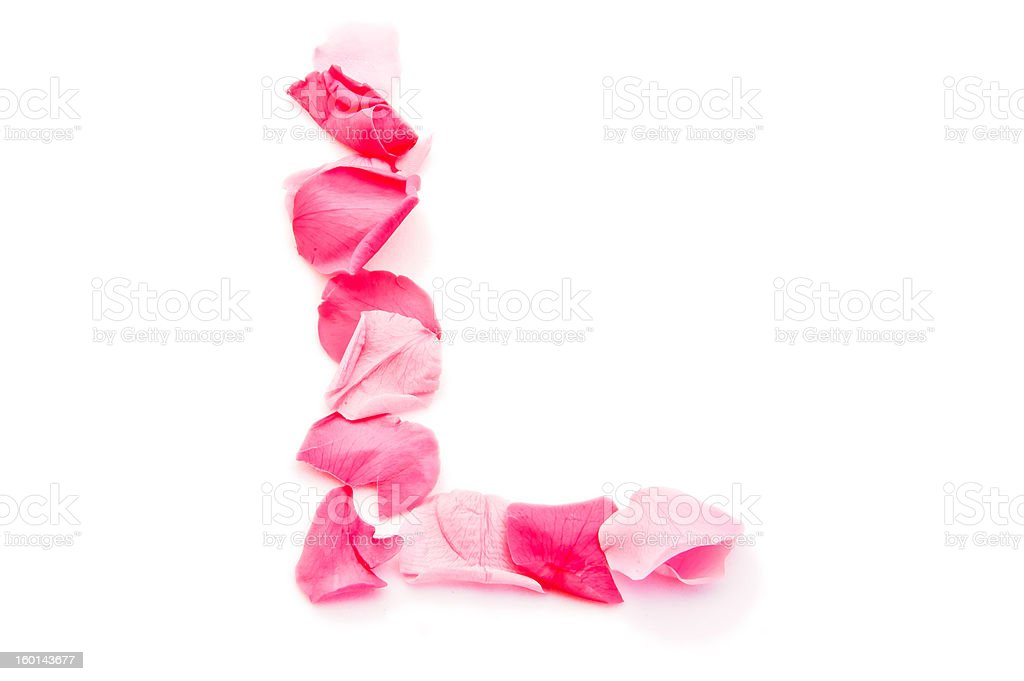 Pink Petal Letter - Capital L royalty-free stock photo