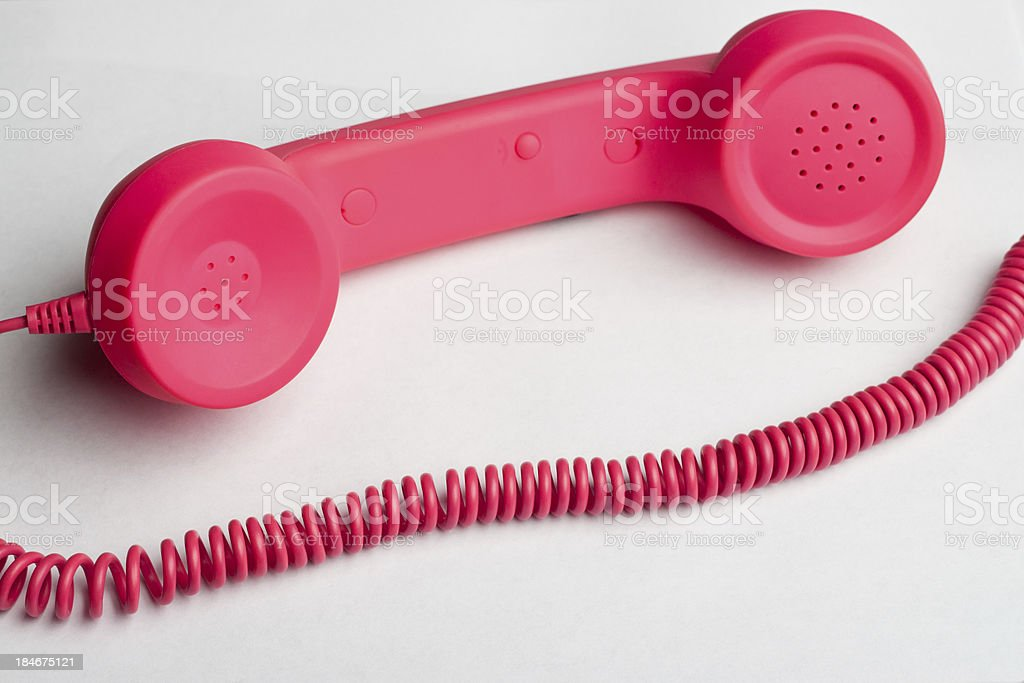 Pink phone cord royalty-free stock photo