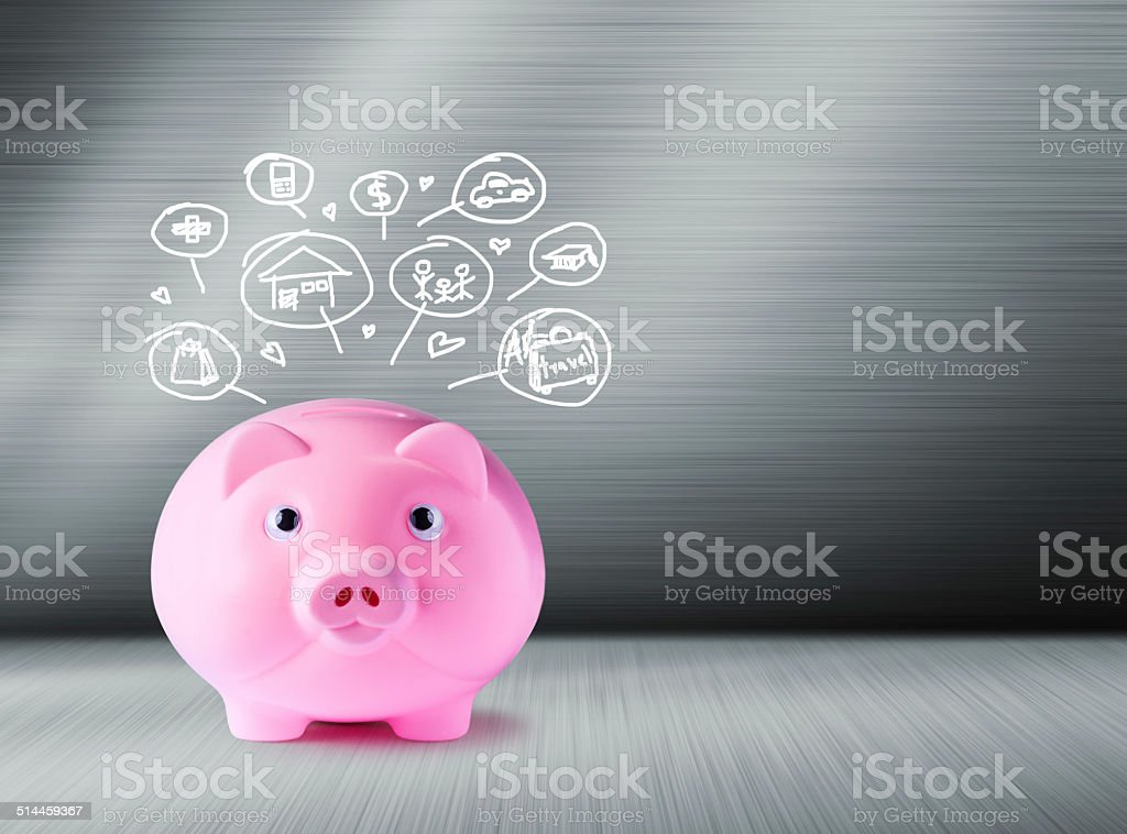 Pink piggy bank and icons design stock photo