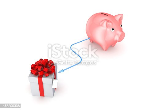istock Pink piggy bank connected to giftbox. 487200338