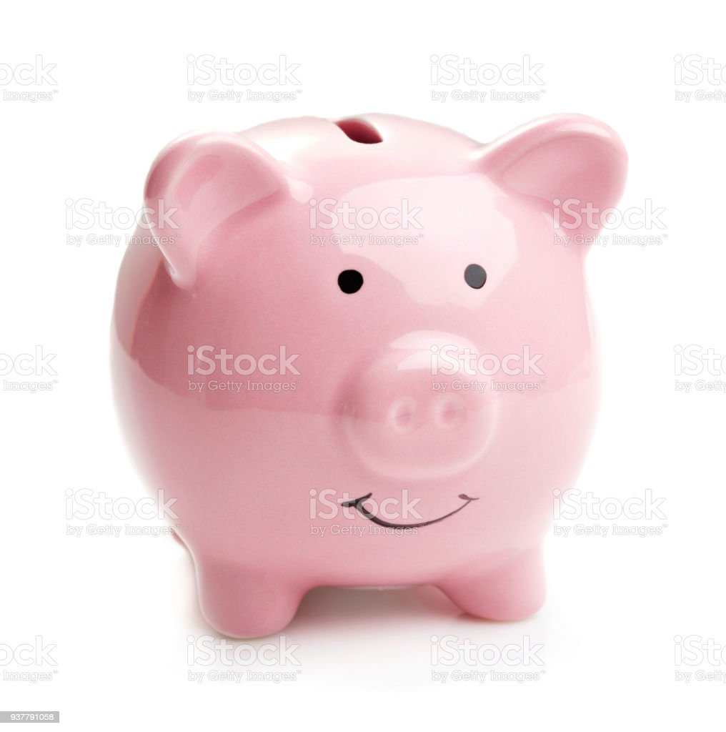 pink piggy bank isolated on white background – zdjęcie