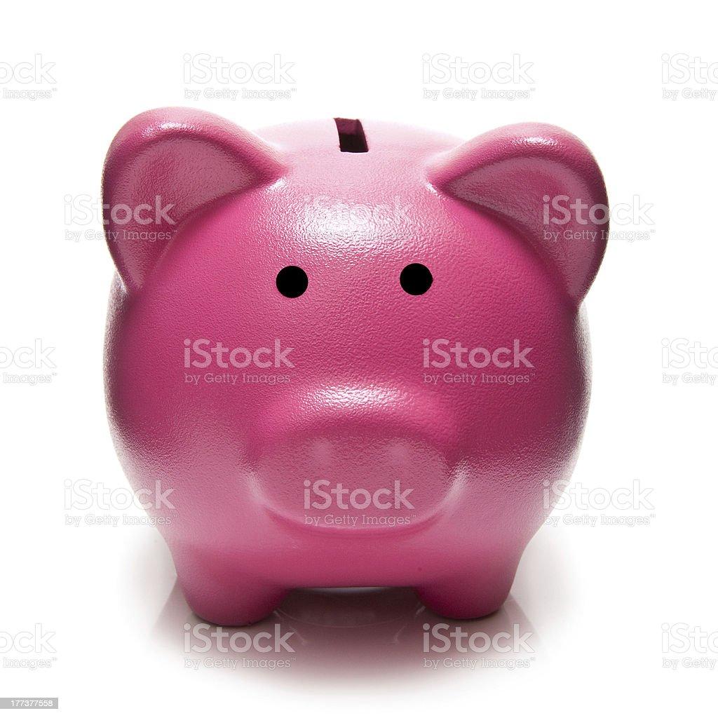 Pink piggy bank money box. royalty-free stock photo