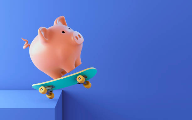 Pink piggy bank on a skateboard 3d illustration cheap stock pictures, royalty-free photos & images