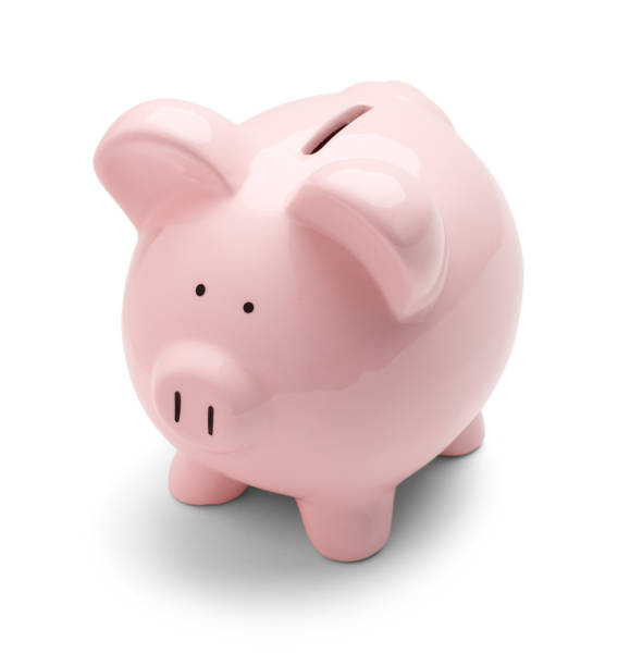 pink piggy bank - piggy bank stock photos and pictures
