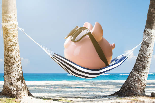 Pink Piggy Bank Relaxing On Hammock Pink Piggy Bank Wearing Sunglasses Relaxing On Hammock At The Beach 40 kilometre stock pictures, royalty-free photos & images