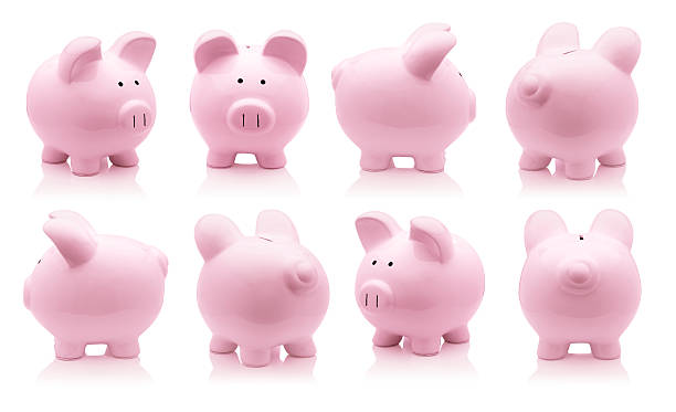 Pink piggy bank set stock photo