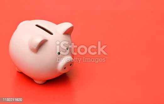 Pink piggy Bank stands on the left on a red background with a shadow. On the right there is a place in copyspace