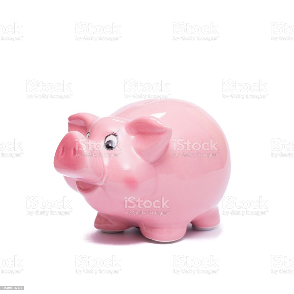 Pink piggy bank to save money stock photo