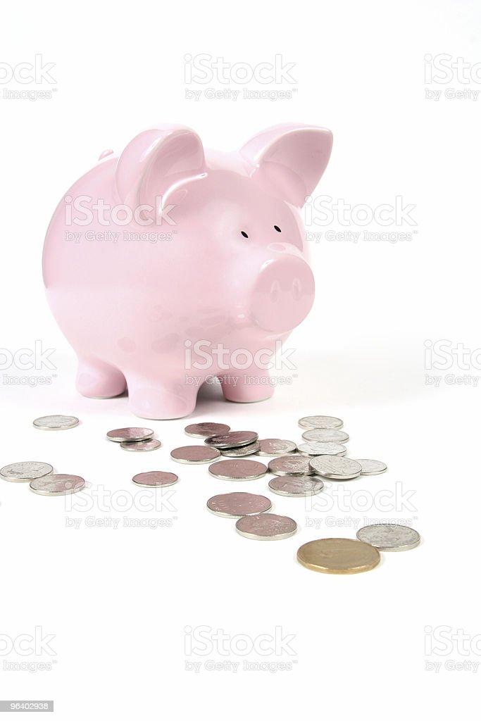 ピンクピギー銀行、硬貨 - おもちゃのロイヤリティフリーストックフォト