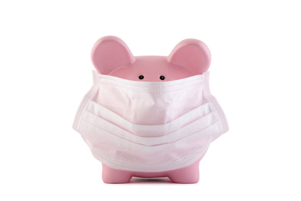 Pink piggy bank with protective medical mask isolated on white with clipping path. Banking during a pandemic concept. stock photo