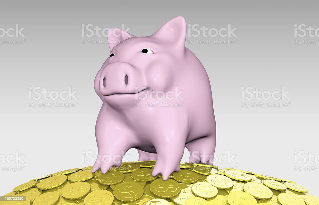 pink piggy on a pile of coins royalty-free stock photo
