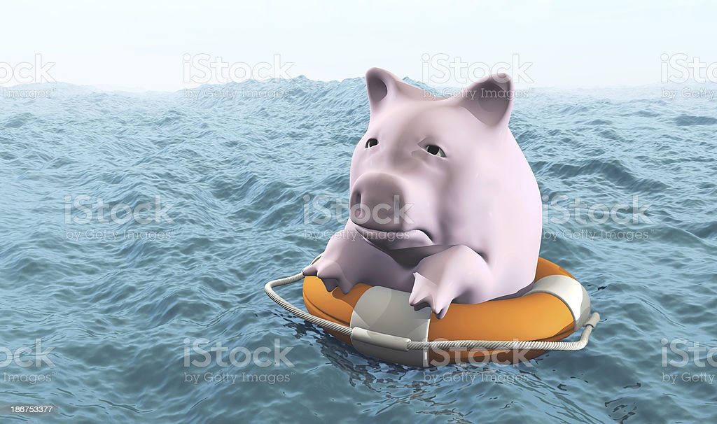 pink piggy on life preserver royalty-free stock photo