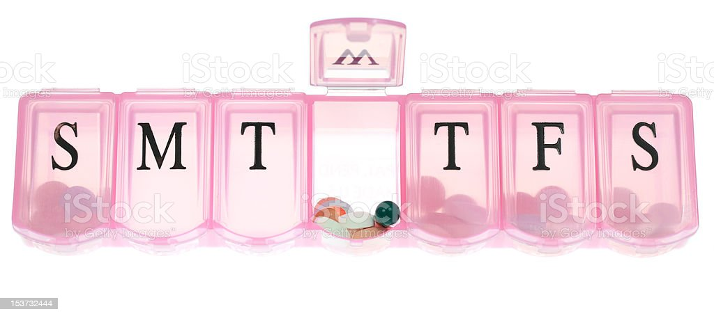 Pink Pill Box stock photo