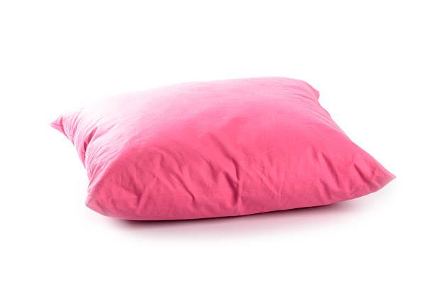 Pink pillow on white background stock photo