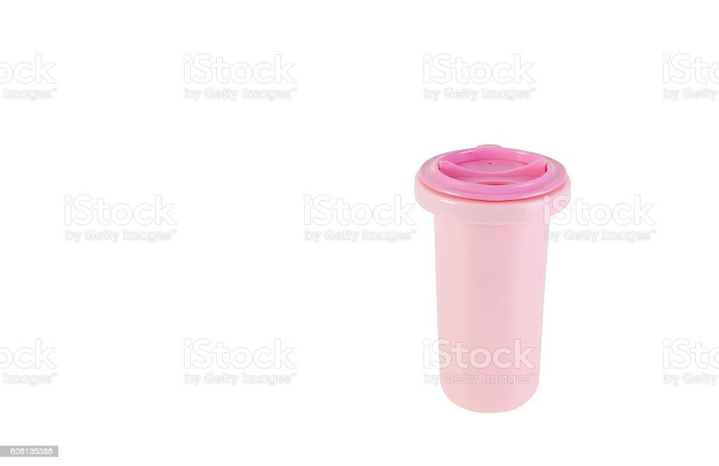 Pink Plastic Bottle Isolated on white background stock photo