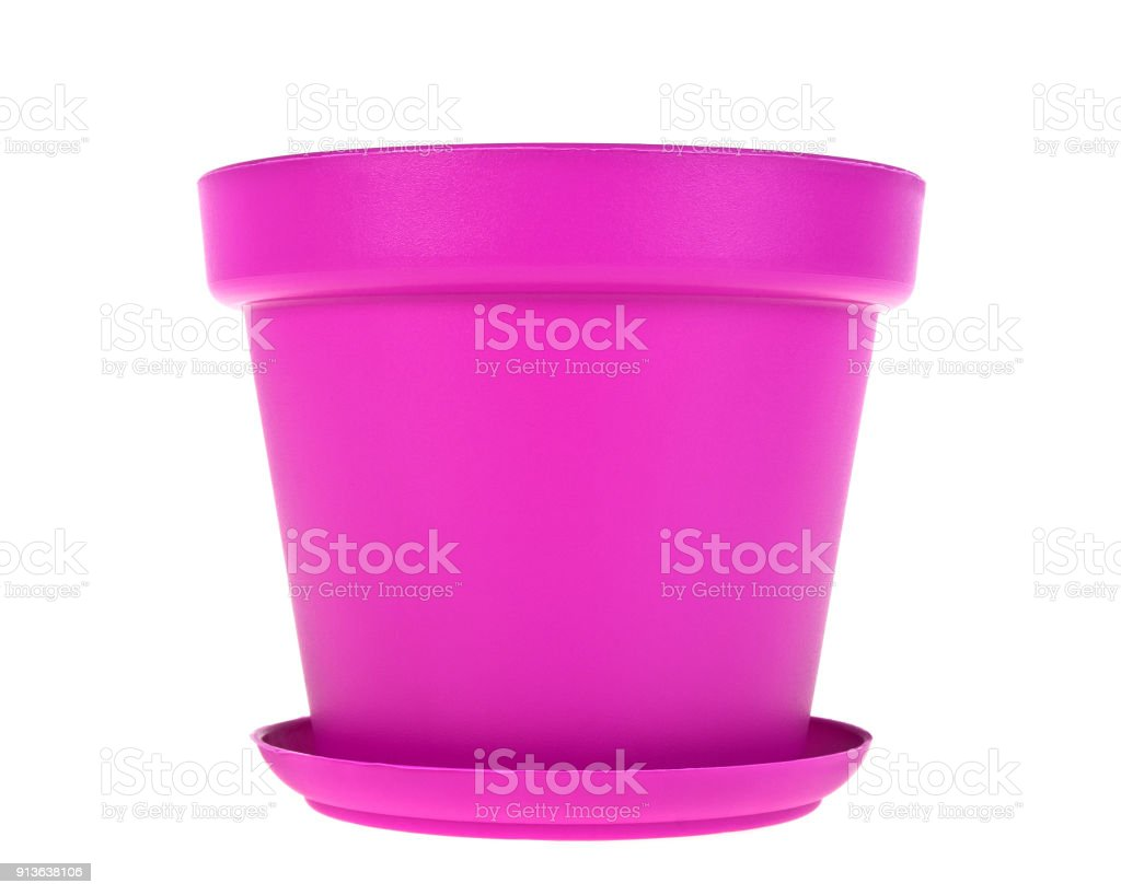Pink Plastic Flower Pots On White Background Stock Photo More
