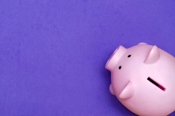 pink plastic piggy bank on pink background with copyspace - piggy bank stock photos and pictures
