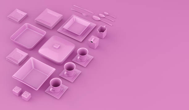 Pink plates and bowls with cutlery. View from above roseate background 3d Illustration. - foto stock