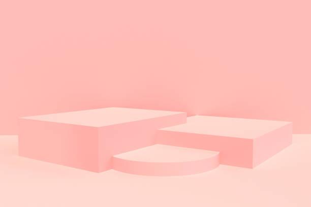 pink podium product display - piedistallo foto e immagini stock
