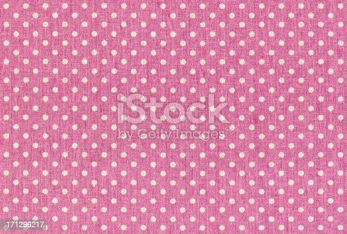 istock Pink Polka dots fabric texture 171296217