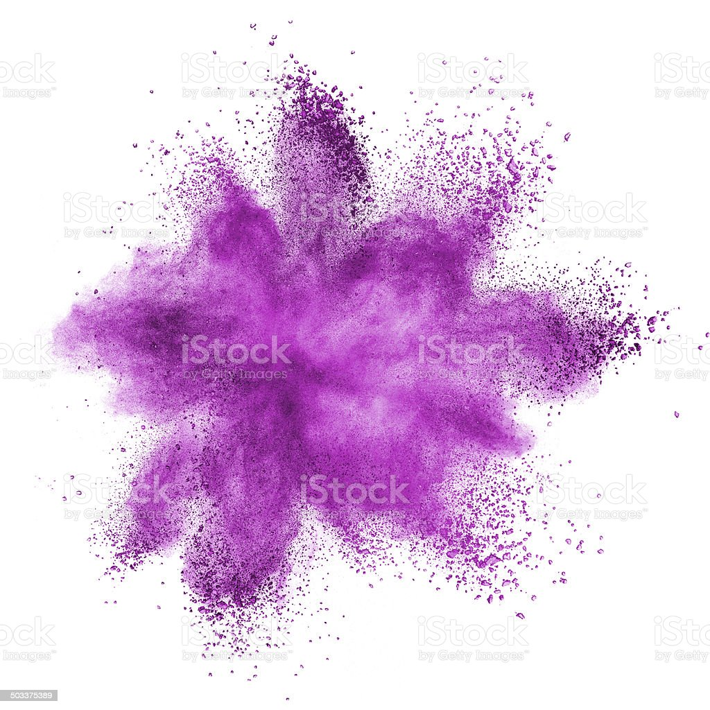 Pink powder explosion isolated on white stock photo