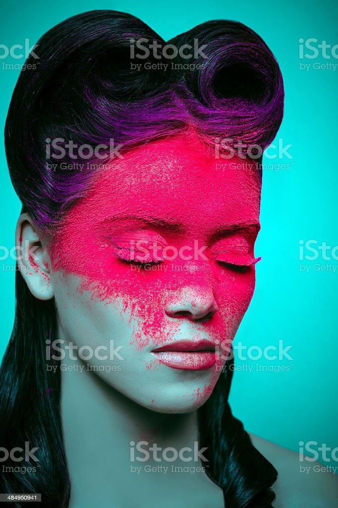 pink powder makeup stock photo