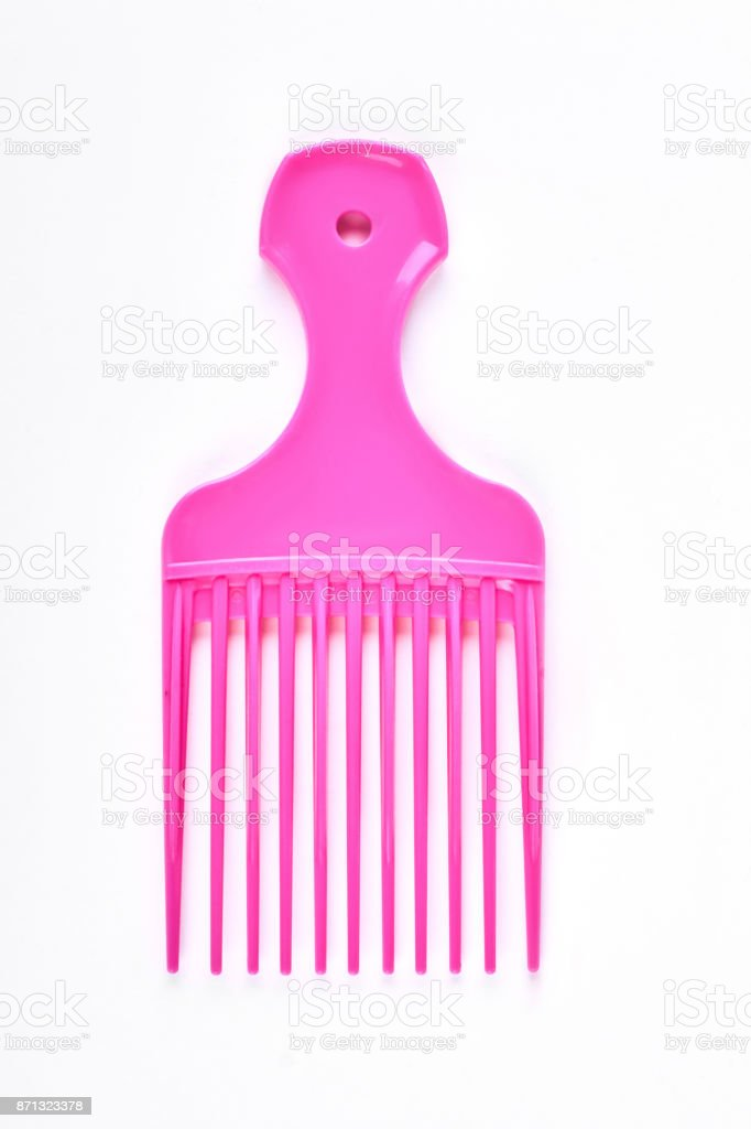 Pink professional afro comb. stock photo