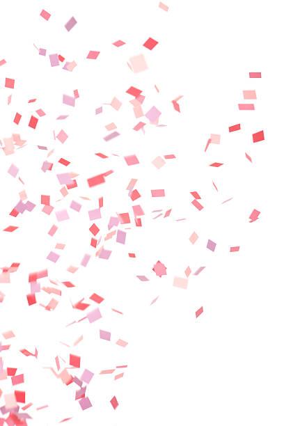 ピンク、パープル、赤の紙ふぶきフォーリング、白で分離 ストックフォト