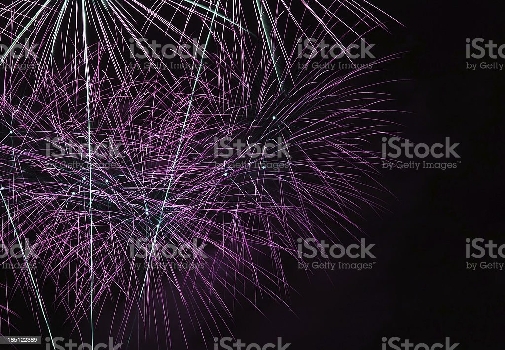 Pink purple and white 4th of July fireworks royalty-free stock photo