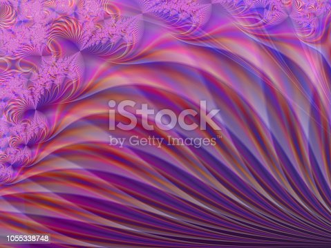 682471362 istock photo Pink Purple Orange fractal abstract background 1055338748
