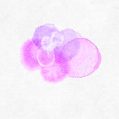 Pink Purple Watercolor Splotchy Wet Rings on Textured white Paper