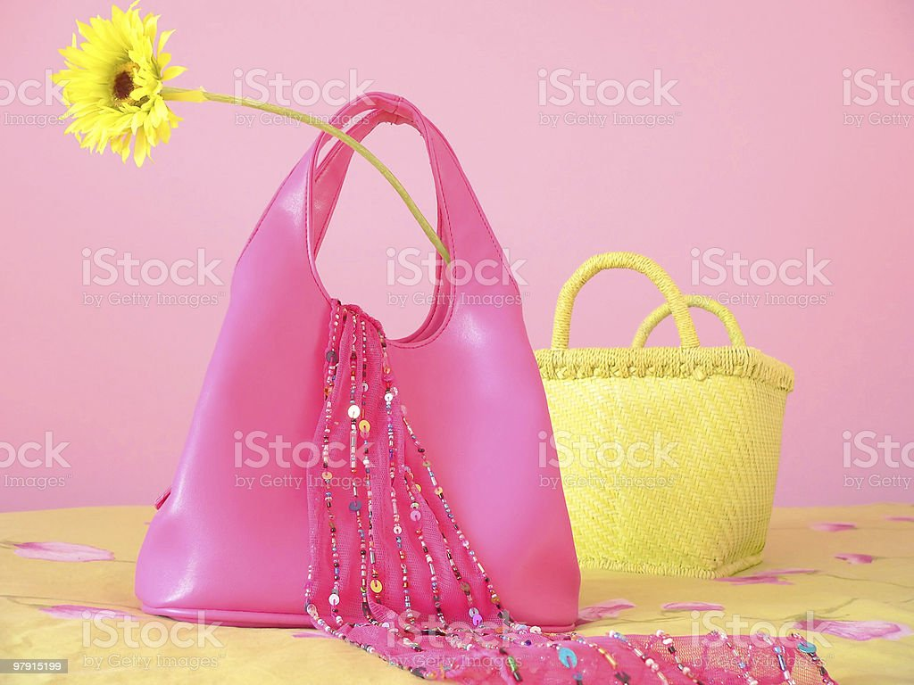 Pink purse and other girl things royalty-free stock photo