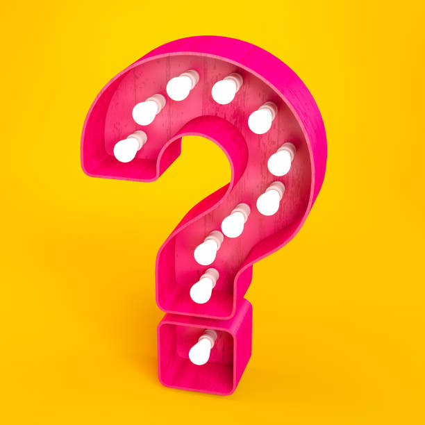 Pink Question Mark Light Bulb Sign stock photo
