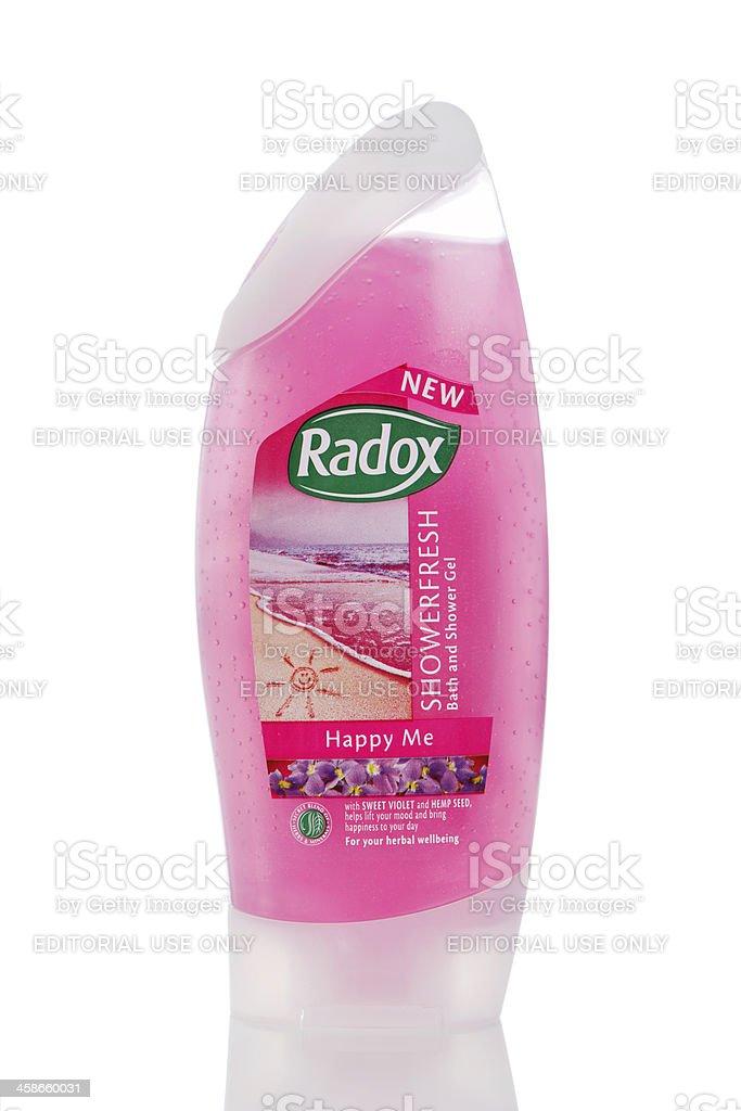Pink Radox shower gel stock photo