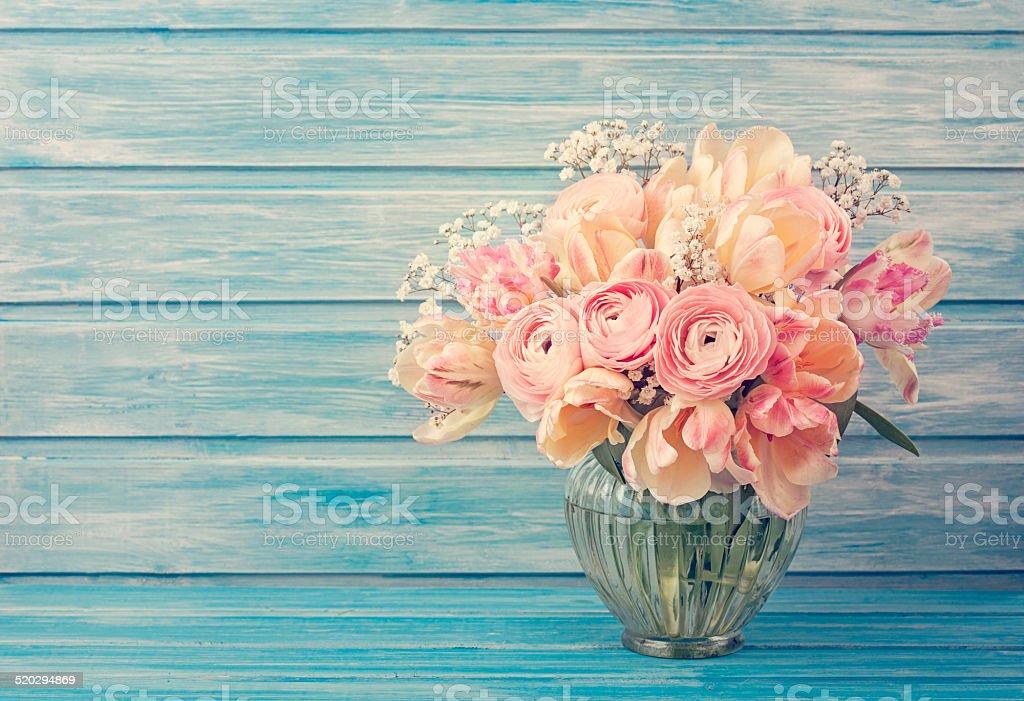 Pink ranunculus flowers stock photo
