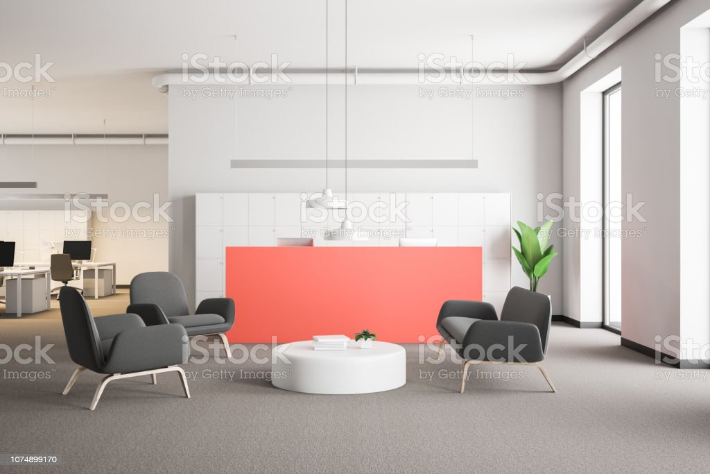 Pink reception desk in modern company lounge stock photo more