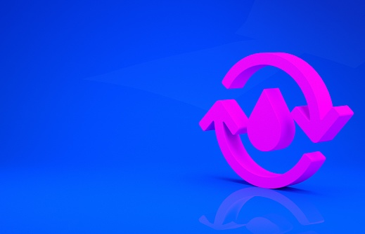 istock Pink Recycle clean aqua icon isolated on blue background. Drop of water with sign recycling. Minimalism concept. 3d illustration 3D render 1223336406