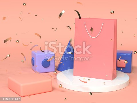 istock pink red blue abstract geometric shape scene 3d rendering pink paper bag shopping advertising 1150911417