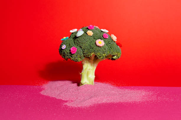 rosa rote brokkoli blumen und sand - besondere geschenke stock-fotos und bilder