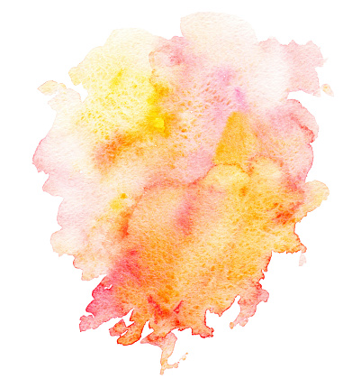 istock Pink red yellow splash watercolor hand painted isolated on white background. 1158218211