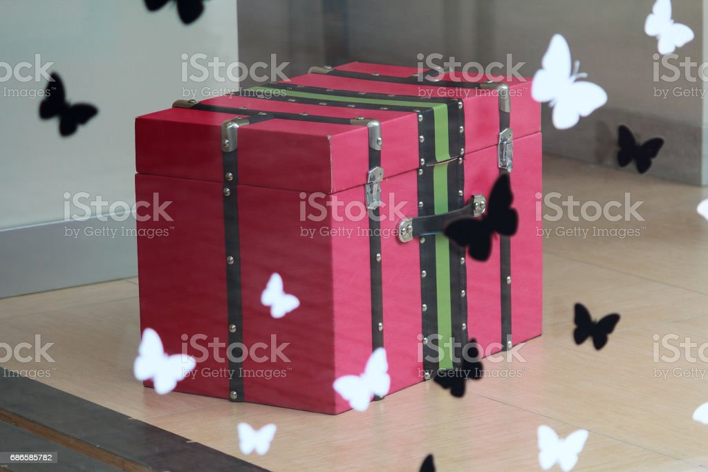 Pink retro chest in the shop window royalty-free stock photo