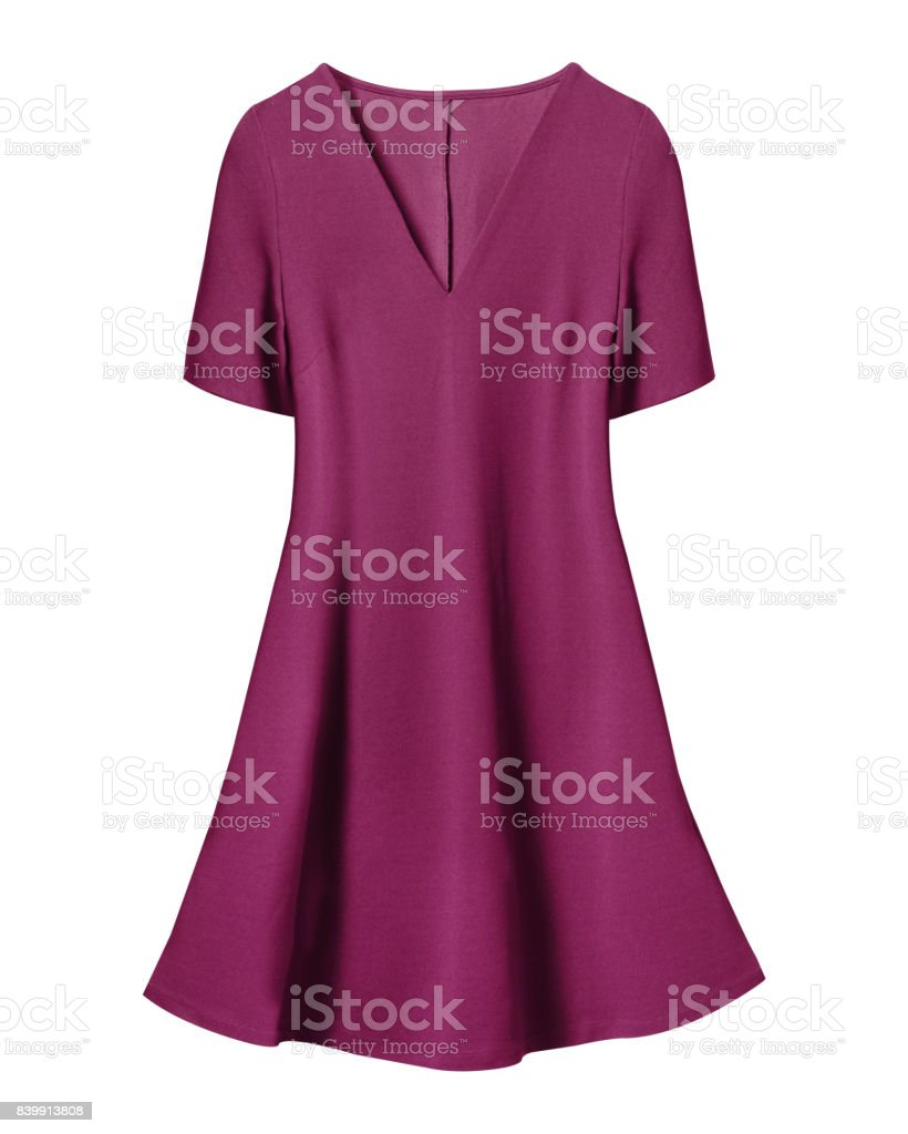 Pink retro dress with short sleeves isolated on white stock photo