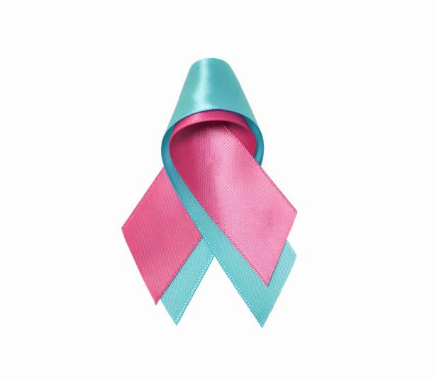 Pink ribbon and blue ribbon stock photo