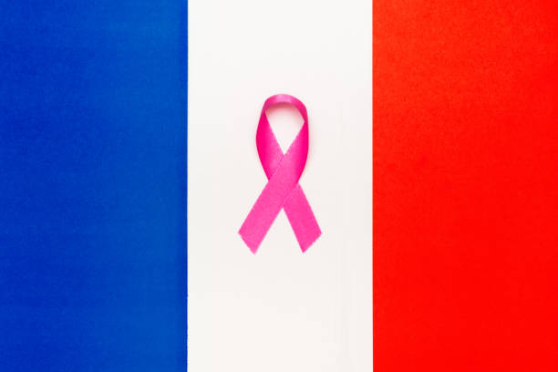 pink ribbon awareness for aids day concept. france world organization. - ovarian cancer ribbon stock pictures, royalty-free photos & images