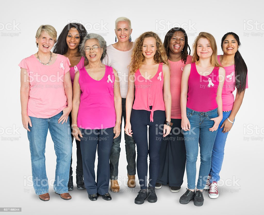 Cinta rosa cáncer de mama femenino de chicas espacio de la copia Banner Concen. - foto de stock